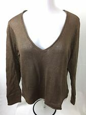NWT Talbots Women Mercerized Cotton Light Sheer V-Neck Sweater Top Brown XL