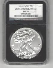 2011 Silver Eagle $1 25th anniversary set MS 70 Black core label NGC