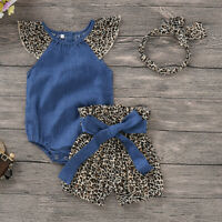 ❤️ Newborn Baby Girls Leopard Romper Tops Jumpsuit Shorts Pants Clothes Outfits