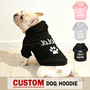 Custom Dog Hoodie Sweatshirt Personalised Pet Clothes with Name Vest Coat XS-5XL