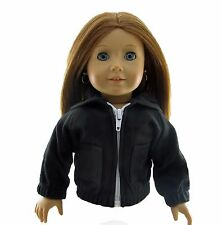 Doll Clothes Hoodie Black Zip fits 18 inch American Girl and Boy