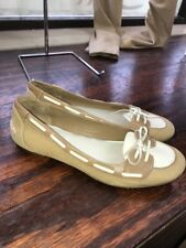 Cole Haan Beige White Suede String Up Loafer Flats Size 10 B