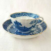 Antique 18th Century Tea Cup and Saucer Willow Pattern Possibly Caughley