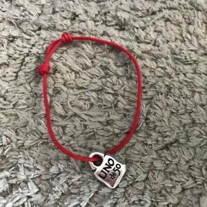 Genuine New Uno De 50 Unisex Red Corded Bracelets w/Silvertone Padlock