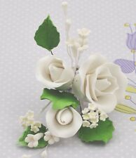 White Rose Spray w/ Fillers Leaves Sugar flower wedding birthday cake decoration