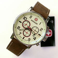 NEW $295 GENTS WENGER 1243.105 LUMI DIAL 43MM COMMANDO CHRONOGRAPH STRAP WATCH