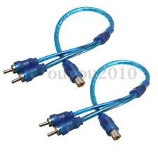 2 Car RCA Phone Y Splitter Lead Adapter Cable 1x Female To 2x Male Car Connector