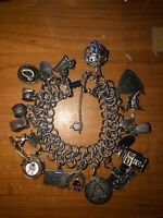 Sterling Silver Charm Bracelet with 18 Charms 59.1 grams Cowboy Western