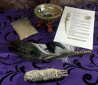 DELUXE SMUDGE KIT ABALONE SHELL STAND SAND SAGE FEATHER  CLEANSING CLEARING
