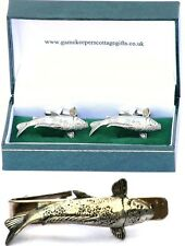 Koi Carp Cufflinks & Tie Clip Bar Slide Tack Set Mens Aquarist Collectors Gift