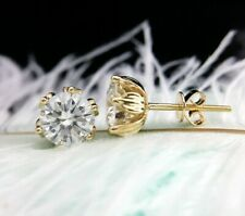 Fancy 6 Prongs Stud Earrings 4.00Ct Round Cut Moissanite 14k Yellow Gold Finish