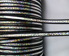 6mm Black / Metallic Silver Holographic Effect Satin Ribbon Trim-5 Yards-T1191