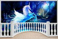 Huge 3D Balcony Fantasy Unicorn Pegasus Wall Stickers Wallpaper 719