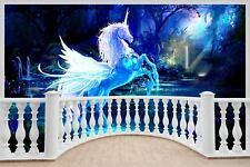 Huge 3D Balcony Fantasy Unicorn Pegasus Wall Stickers Wallpaper 719