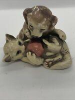 Vtg UCTCI Japan Dog Cat Figurine Ceramic Porcelain