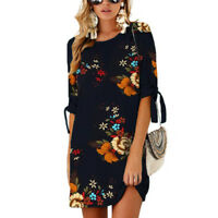 Womens Floral Long Tops Blouse Ladies Summer Casual Loose Tunic Dress Plus Size