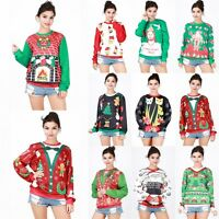 Women Christmas Xmas T-Shirts Long Sleeve Hoodie Tops Jumper Sweatshirt Pullover