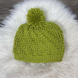Hand Knit Hat Womens Adult Beanie Chartreuse Green Pom Pom
