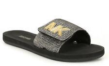 Michael Kors Women's Sandals Black/Gold Glitter Chain Slide Mesh MK Sz 8 10 NIB