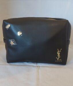 YSL Yves Saint Laurent Makeup Cosmetic Bag Faux Patent Leather Black NWOB