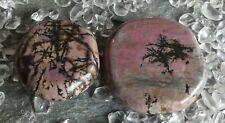 2 Steine Rhodonit Scheibenstein Trommelstein Heilstein 93,24 Gramm