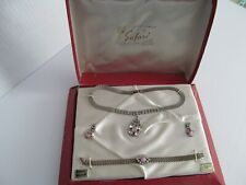 """VINTAGE 1950'S LOVELY JEWELS BY """"SAFARI"""" NECKLACE, EARINGS AND BRACELET SET"""