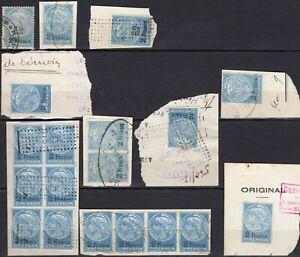 19 timbres fiscaux sur fragm DAUSSY Dimensions 2 Francs bleu 1920 1931 à étudier