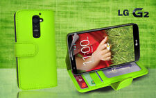 Green Side Wallet Photo ID Leather Case Cover for LG G2 G 2 / D802 + Screen Gd