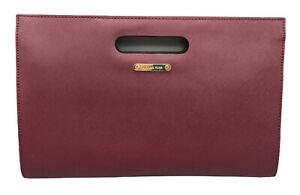 "Michael Kors Tilda Burgundy XL Clutch Leather Handbag & Remove Strap - 13""x8.5"""