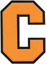 """6 """" Pouce Grand Orange sur Noir Bloc Letterman's Varsity Lettre C Feutre Patch"""