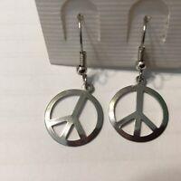 Vintage Peace Sign Silver Tone Earrings Retro Hippy On Original Card Korea