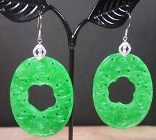 925 Sterling Silver Green Jade Earring Earrings Dangle Bat Flower 282770