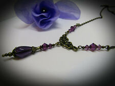 VINTAGE VICTORIAN STYLE NECKLACE PURPLE SWAROVSKI ELEMENTS 1