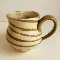 Hand Thrown Art Pottery Signed Coffee Mug Cup Brown Tan Stripe Swirl 16oz