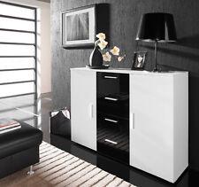 Kommode Sideboard Highboard Anrichte Schublade CAMILLA schwarz hochglanz weiß