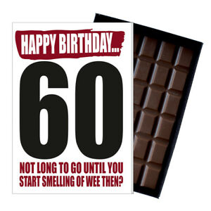 60th Birhday Card Funny Gifts Men Women boxed Novelty chocolate greeting Him Her