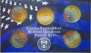 2002-S USA STATE QUARTERS PROOF SET 5 COINS COLOR GEM UNC TONED RAINBOW (DR)