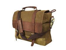 "Vintage Leather Canvas Briefcase Messenger 15.6"" Laptop Satchel Crossbody Bag"