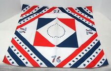 1976 Red White Blue Stars and Stripes Silky American Birthday Scarf 21 In sq T76