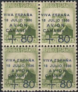 CANARIAS 1937 Edifil 16 ** Bloque de 4 sellos Spain (ref#2678)
