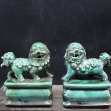 Chinoiserie  Blue   Pair of Chinese  gardian lions in Song dynasty style
