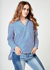 Sheego @ Kaleidoscope Royal Blue & White Striped Wrap Long Sleeve Blouse Size 18