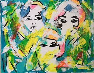 Afrocentric Fashion Faces Original Artwork Abstract Canvas Painting 40.5x50.5cm