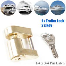 1x Trailer Lock Coupler Receiver Tow Hitch Lock Brass 1/4 x 3/4 Pin Latch 2 KEYS