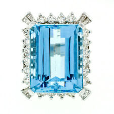Large 18k White Gold 19.26ctw GIA Blue Aquamarine & Diamond Halo Statement Ring