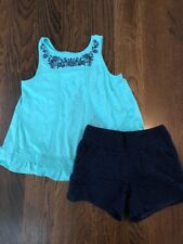 EUC Justice Turquoise Ruffle Top And Lace Shorts 10/12