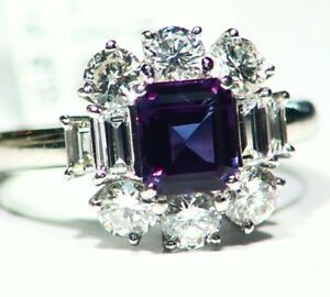 GIA Vintage 2.45CT Platinum Natural Cut White Diamond Alexandrite Ring Authentic
