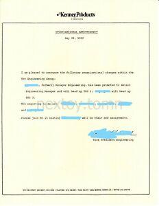KENNER/TONKA Original LETTERHEAD Org Memo ENGINEERING 1989 Cincinnati Employee