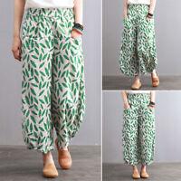 UK 8-24 Women Floral Wide Leg Oversize Plus Plain Loose Trousers Cropped Pants