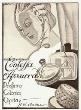 PUBBLICITA' 1933 GI.VI.EMME CONTESSA AZZURRA PROFUMO CIPRIA MODA DONNA ABKASI
